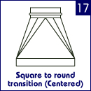 Square to round transition (centered)